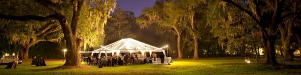Wedding Marquee with generator powered lights